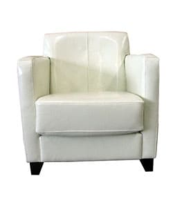 Shop Milan White Leather Club Chair Free Shipping Today