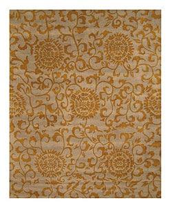 Thumbnail 1, Hand-tufted Casablanca Gold Wool Rug (7'9 x 9'9).