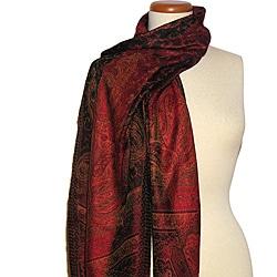 Red/ Multi Classic Silk Scarf (India) - Thumbnail 0