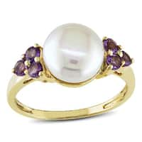 Miadora 10k Gold Cultured Freshwater Pearl and Amethyst Ring (8-8.5mm)