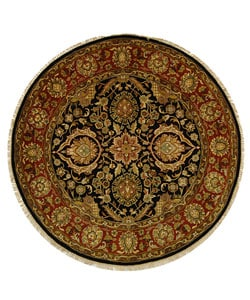 Safavieh Hand-knotted Black/ Red Forever Wool Rug (8' Round)