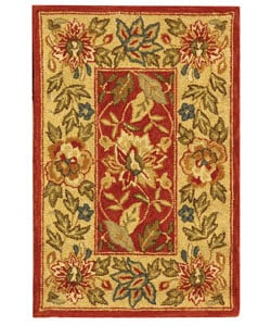 Safavieh Handmade Boitanical Red/ Ivory Wool Rug (1'8 x 2'6)