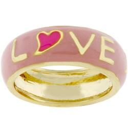 Kate Bissett Goldtone Pink Enamel 'Love' Ring