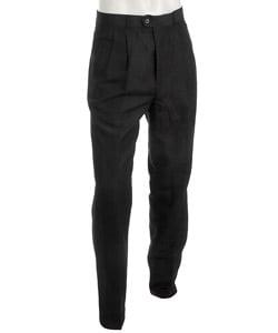 Shop Oleg Cassini Men S Black Linen Double Pleat Pants