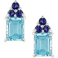 Sterling Silver Sky Blue Topaz and Iolite Earrings