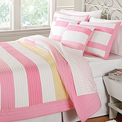 Hopscotch pink yellow stripe quilt set free shipping - Pink and yellow comforter ...