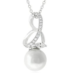 Silvertone Faux Pearl and Cubic Zirconia Necklace