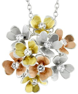 Kate Bissett Silvertone 3D Multicolor Flower CZ Necklace