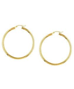 Sterling Essentials 14k Gold over Sterling Silver Hoop Earrings