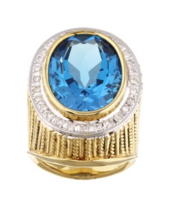 Kabella 14k Gold Blue Topaz and 1/2ct TDW Diamond Ring (H, I3)