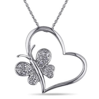 10k Diamond Accent Heart and Butterfly Pendant