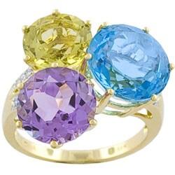 14k Yellow Gold Multi Gemstone Diamond Accent Ring