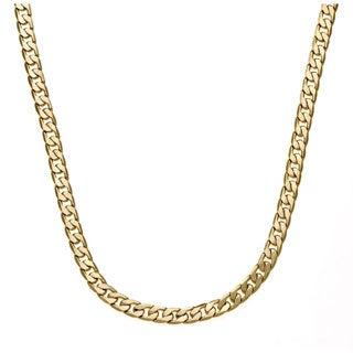 Simon Frank 14k Yellow Gold or Silver Overlay 30-inch Cuban Necklace 7mm