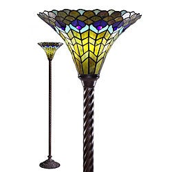 Tiffany-style Peacock Torchiere