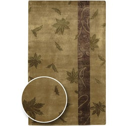 Hand-knotted Brown Floral Karur Collection Semi-Worsted Wool Area Rug (5' x 8') - Thumbnail 0