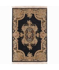 Nourison Hand-knotted Bordeaux Black Wool Rug (3'9 x 5'9)