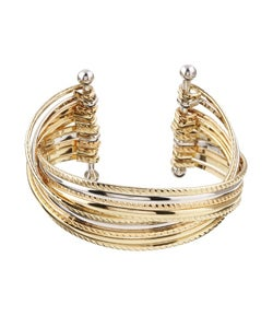 Silvertone and Goldtone CZ Polished Cuff Bracelet