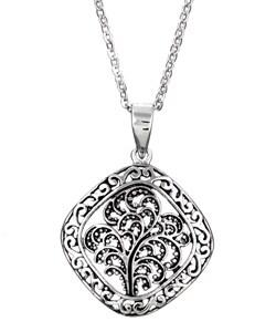 Sterling Essentials Sterling Silver Antique Finish Leaf Medallion Necklace