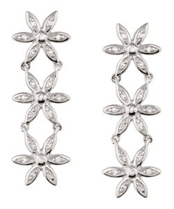 Sterling Essentials Sterling Silver Cubic Zirconia Daisy Drop Earrings