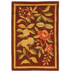 Safavieh Hand-hooked Botanical Burgundy Wool Runner (2'6 x 4')
