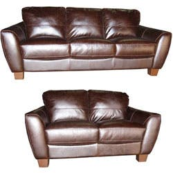 Surprising Distressed Brown Leather Sofa And Loveseat Set Overstock Com Shopping The Best Deals On Sofas Couches Short Links Chair Design For Home Short Linksinfo