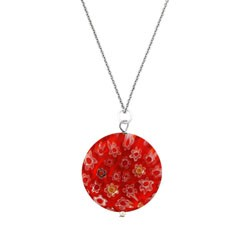 Glitzy Rocks Sterling Silver Red Venetian Glass Necklace