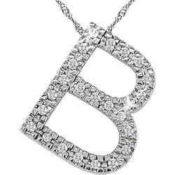 14k White Gold 1/10ct TDW Diamond 'B' Necklace - Thumbnail 0