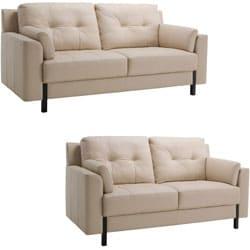tiffany cream leather sofa and loveseat