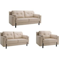Shop Tiffany Cream Leather Sofa Loveseat And Chair Free