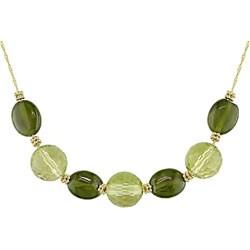 14k Gold Lemon Quartz and Green Garnet Necklace