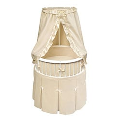 White Elegance Round Bassinet with Ecru Waffle Bedding