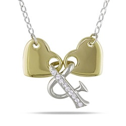 Miadora 14k Two-tone Gold 1/10ct TDW Double Heart Necklace