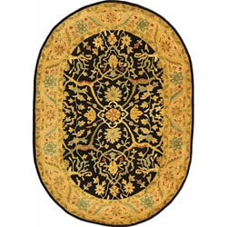Safavieh Handmade Mahal Black/ Beige Wool Rug (7'6 x 9'6 Oval)