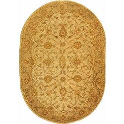 Safavieh Handmade Antiquities Kashan Ivory/ Beige Wool Rug (4'6 x 6'6 Oval)