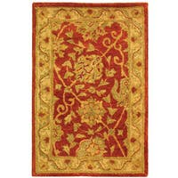 Safavieh Handmade Antiquities Mashad Rust/ Ivory Wool Rug - 2' x 3'