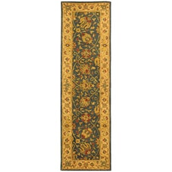 Safavieh Handmade Antiquities Mashad Blue/ Ivory Wool Runner (2'3 x 8')