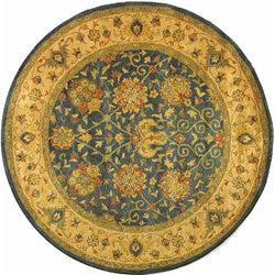 Safavieh Handmade Antiquities Mashad Blue/ Ivory Wool Rug (6' Round)