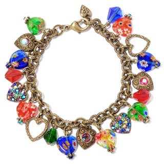 Sweet Romance Millefiori Rainbow Crystal Heart Charm Bracelet