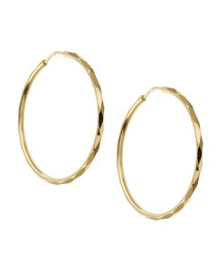 14K Gold over Sterling Silver Faceted Hoop Earrings