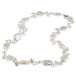DaVonna Sterling Silver White Freshwater Pearl Necklace (11-12 mm)