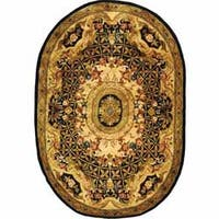 "Safavieh Handmade Classic Empire Black/ Gold Wool Rug - 4'6"" x 6'6"" oval"