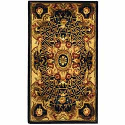 Safavieh Handmade Classic Empire Black/ Gold Wool Runner (2'3 x 4')