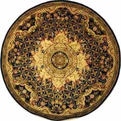 Safavieh Handmade Classic Empire Black/ Gold Wool Rug (6' Round)