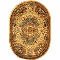 Safavieh Handmade Empire Light Blue/ Ivory Wool Rug (4'6 x 6'6 Oval)