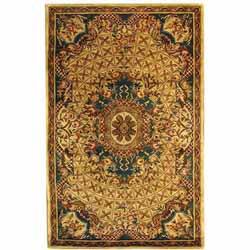 Safavieh Handmade Classic Empire Light Blue/ Ivory Wool Rug (4' x 6')
