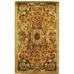 Safavieh Handmade Classic Empire Taupe/ Light Green Wool Rug (3' x 5')