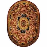 "Safavieh Handmade Classic Empire Burgundy/ Black Wool Rug - 7'6"" x 9'6"" oval"