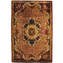 Safavieh Handmade Classic Empire Burgundy/ Black Wool Rug - 4' x 6'