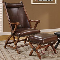 Shop Brown Morris Hunter Chair And Ottoman Free Shipping