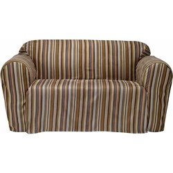 Boardwalk Stripe Microsuede Loveseat Drop Skirt